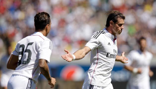 Bale celebra su gol ante el Inter de Milán