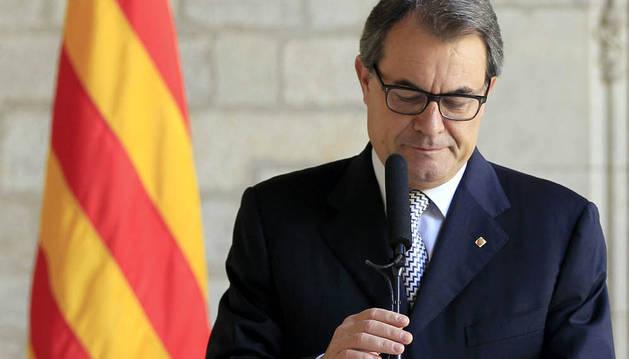 El presidente de la Generalitat, Artur Mas, durante la rueda de prensa ofrecida este martes