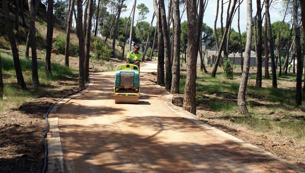 Dos operarios realizan la plantación de las distintas especies instaladas en el entorno del parque.