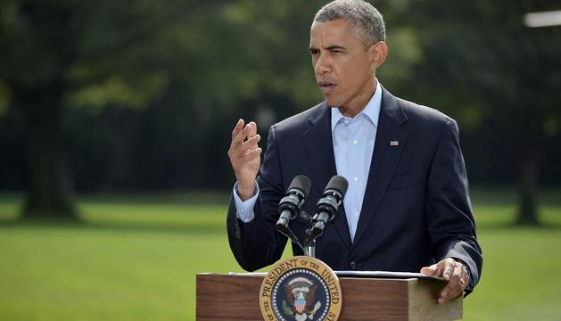 El presidente de Estados Unidos, Barack Obama, comparece este sábado ante los medios.