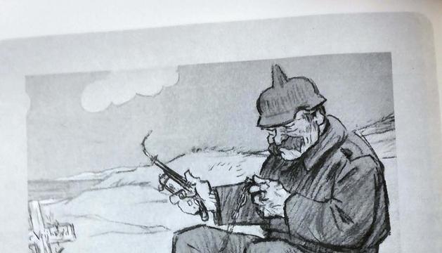 Reproducción de una de las viñetas antibelicistas del dibujante holandés Louis Raemaekers