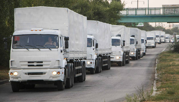 El convoy humanitario ruso para el este de Ucrania, en la ciudad de Voronezh