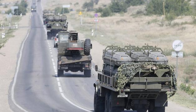 Vehículos rusos en Ucrania