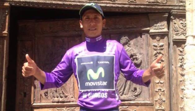 Nairo Quintana, con el maillot morado de la Vuelta a Burgos
