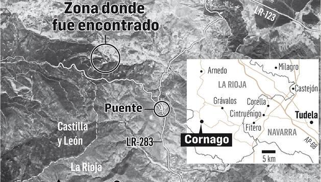 Mapa de la zona donde fue encontrado el cadáver