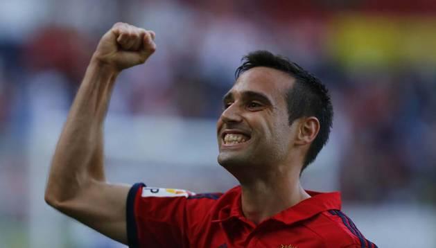 Javier Flaño celebra su gol en el amistoso contra el Athletic