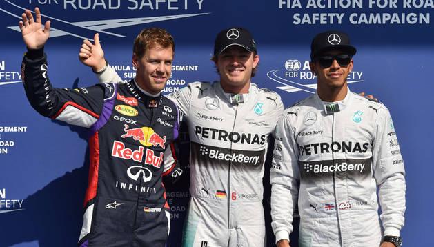 Rosberg, Hamilton y Vettel.