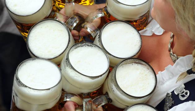 La cerveza alemana, de medio en medio litro.