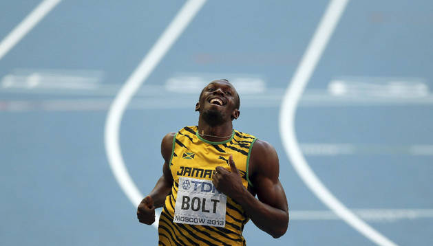 El jamaicano Usain Bolt tras la semifinal de 200 metros de los Mundiales de Atletismo Moscú 2013