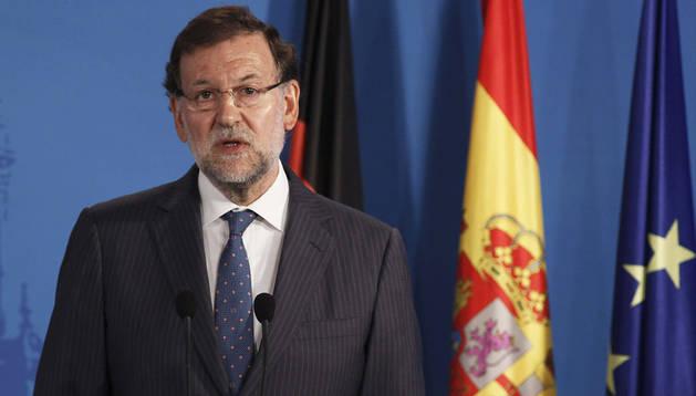 Mariano Rajoy durante la rueda de prensa tras la reunión que mantuvo con Angela Merkel en Santiago de Compostela