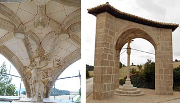 Detalle de la cruz y la bóveda del crucero del Santo Cristo de Aramendía