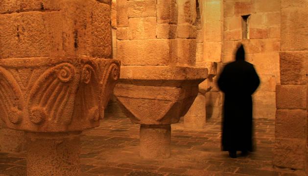 La cripta de la abadía de Leyre, parte del patrimonio histórico de Navarra.