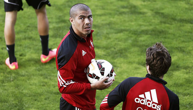 Francisco Silva, durante el último entrenamiento en Osasuna