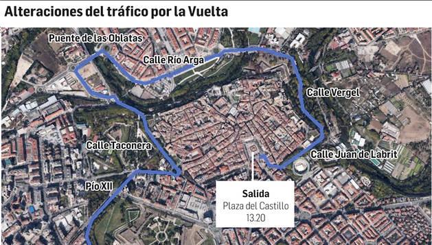 Mapa con las alteraciones del tráfico en Pamplona con motivo de la Vuelta a España 2014