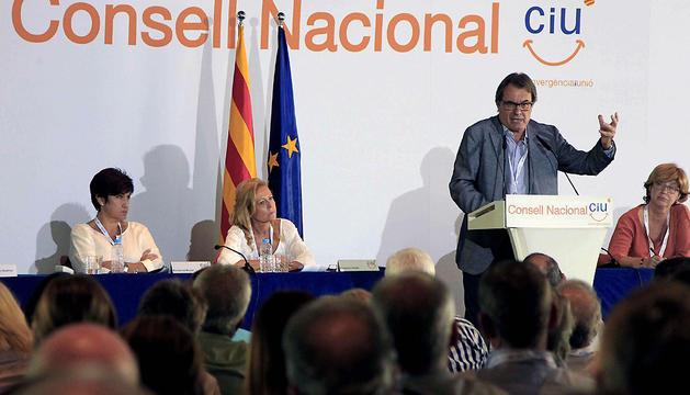 El presidente de la Generalitat, Artur Mas, durante su intervención este sábado en el Consell Nacional conjunto de CDC y UDC