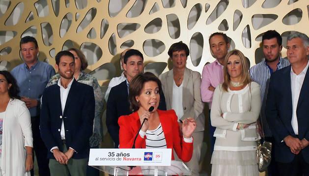 Barcina, en un momento del discurso en Cadreita
