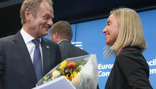 Donald Tusk y Federica Mogherini, este sábado en la cumbre de Bruselas