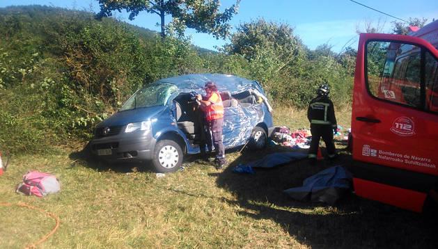 El vehículo accidentado en Lantz
