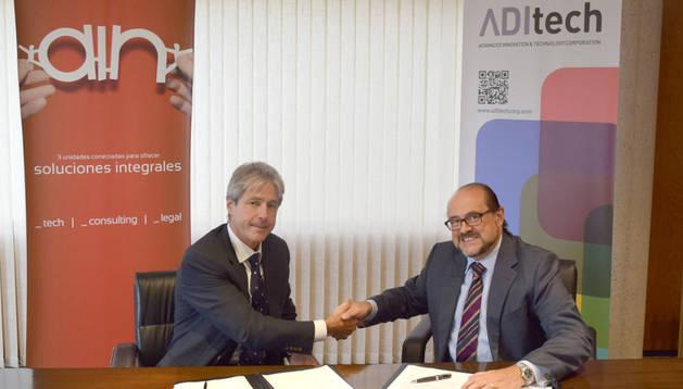 Alberto Munárriz, presidente de AIN, y Manuel Rodríguez, director general de la Corporación Tecnológica ADItech