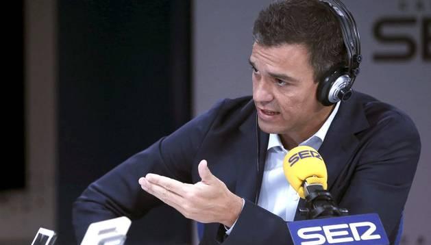 El secretario general del PSOE, Pedro Sánchez, durante su intervención en el programa