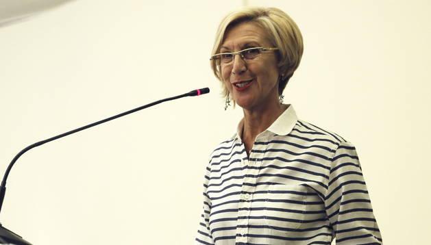 La líder de UPyD, Rosa Díez, durante su intervención hoy en el Consejo Político extraordinario del partido.