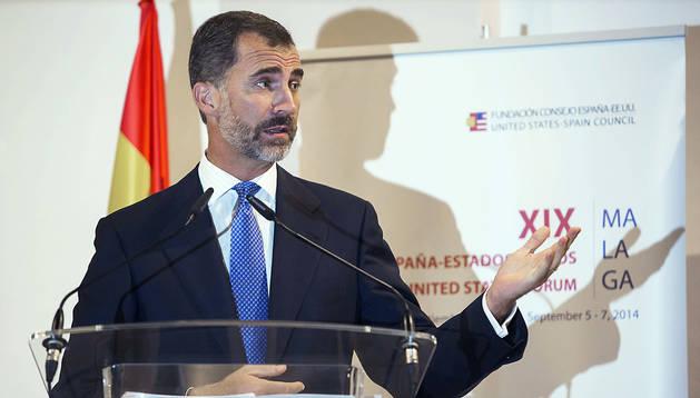 Don Felipe, durante el discurso inaugural del XIX Foro España-Estados Unidos celebrado en Málaga