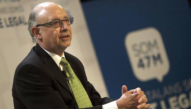 El ministro de Hacienda, Cristóbal Montoro, durante su participación hoy en la Conferencia Política del PPC