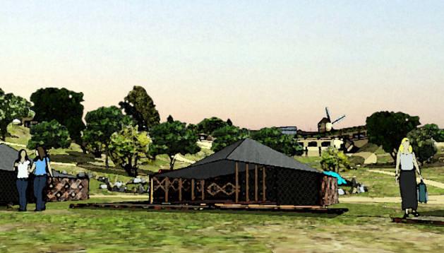 Imagen virtual del proyecto de campamento ecológico con las jaimas en primer término y otras instalaciones al fondo.