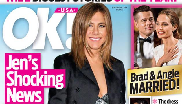 Portada de la revista 'Ok Magazine', en la que se da la noticia del embarazo de Aniston.