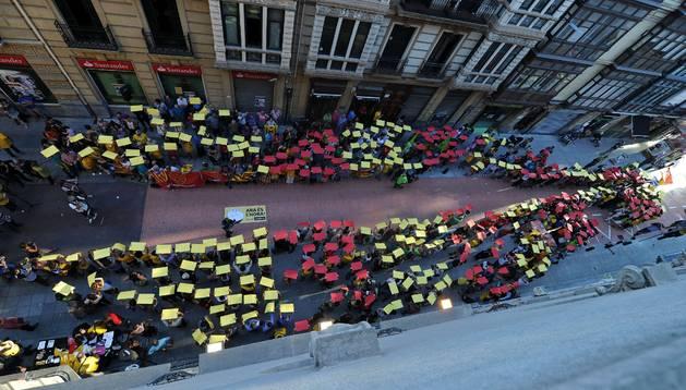 Manifestación en favor de la independencia de Cataluña.