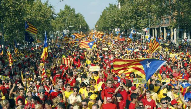 Vista de la manifestación con motivo de la Diada y a favor de la consulta del 9 de noviembre