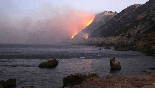 Imagen del incendio declarado en Jávea
