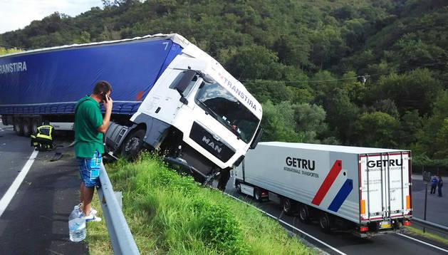 Así quedó el camión involucrado en el accidente