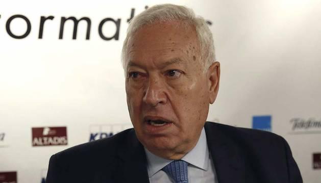 El ministro de Asuntos Exteriores, José Manuel García-Margallo, durante la conferencia que ha pronunciado en un desayuno informativo este martes