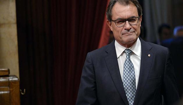 Artur Mas, en el Parlament catalán este lunes