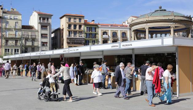 Feria del libro que se celebra habitualmente en la Plaza del Castillo