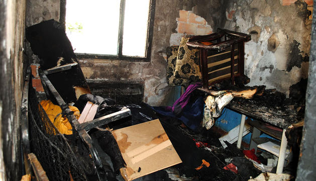 Estado de la vivienda del barrio de San Juan tras el incendio
