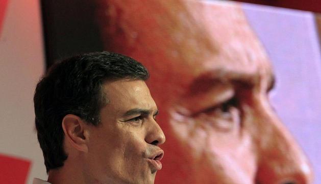 El secretario general del PSOE, Pedro Sánchez, durante su intervención en el Congreso extraordinario del PSE-EE