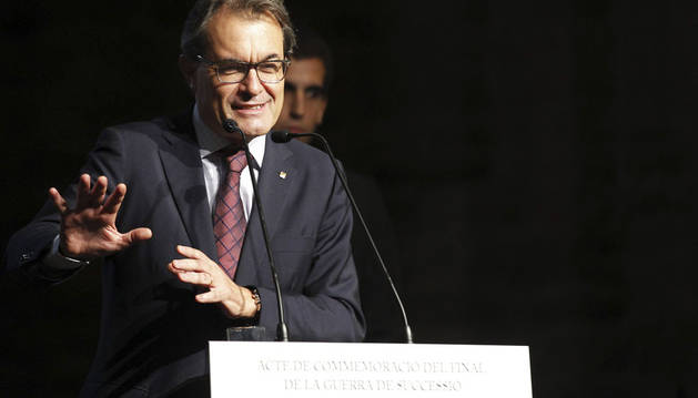 El presidente de la Generalitat, Artur Mas,durante su intervención en el acto de conmemoración del final de la Guerra de Sucesión de 1714 en el castillo de Cardona
