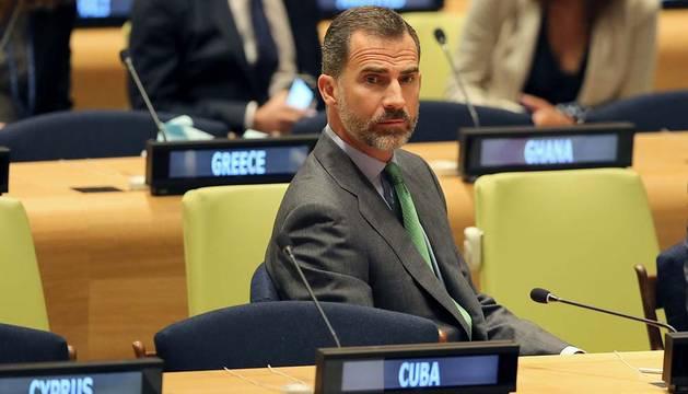 El rey Felipe durante su participación en la Cumbre del Clima.