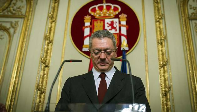 Ruiz Gallardón, en el momento de comunicar su dimisión.