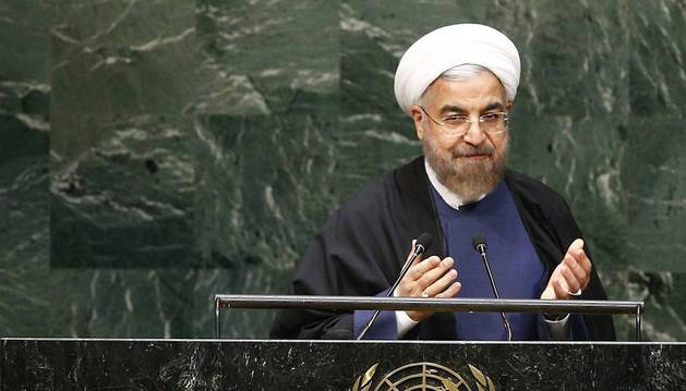 El presidente iraní, Hasán Rohani ante la Asamblea General de las Naciones Unidas.
