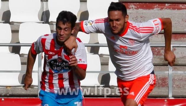 Cadamuro, en el momento del penalti contra el Lugo