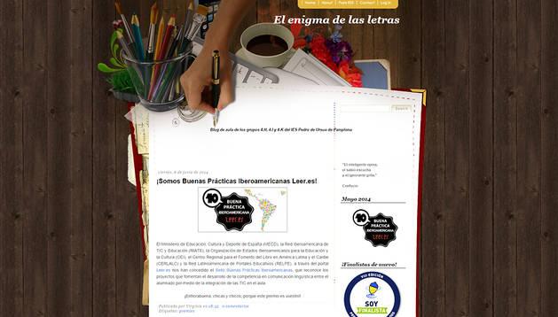 Reconocimiento para un blog literario del instituto Pedro de Ursúa