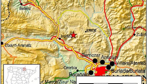 Mapa del seísmo en Erice.
