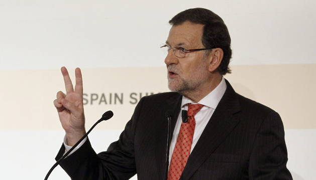El presidente del Gobierno, Mariano Rajoy, durante su intervención en la cumbre organizada por el Financial Times