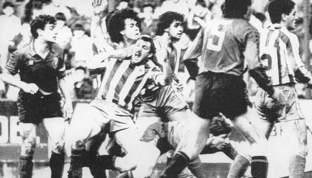 Imagen del último partido liguero ganado por Osasuna en El Molinón