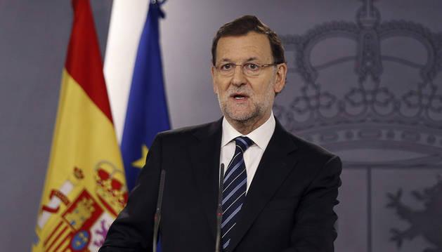 Mariano Rajoy esta mañana en la Moncloa