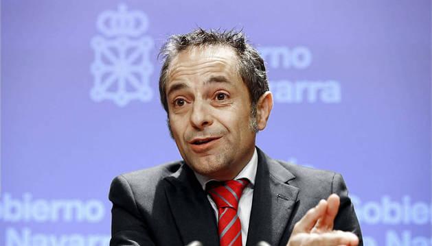 Sánchez de Muniáin, en la rueda de prensa.