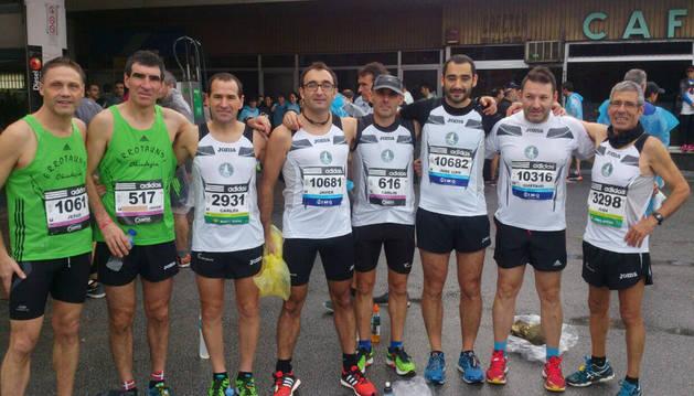 Algunos corredores que participaron en la Behobia-San Sebastián